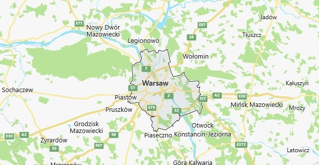 Map of Poland Warsaw in English