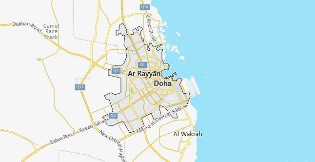 Map of Qatar Doha in English