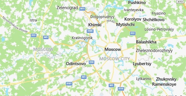 Map of Russia Moscow in English