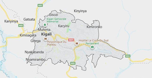 Map of Rwanda Kigali in English