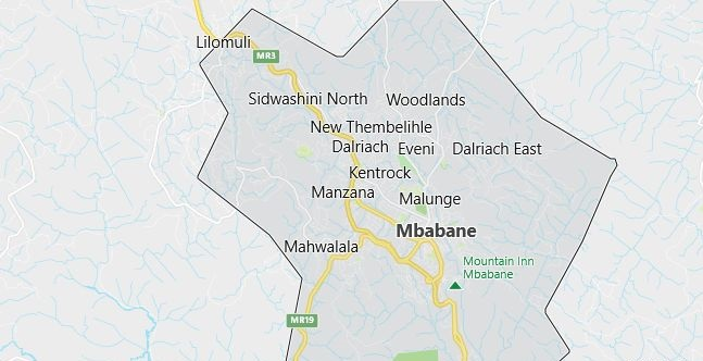 Map of Swaziland Mbabana in English