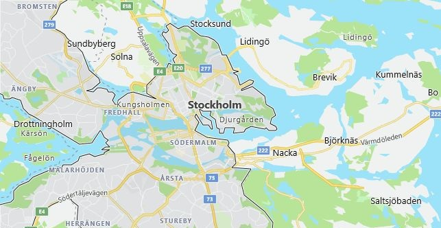 Map of Sweden Stockholm in English