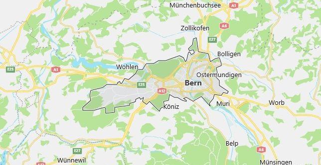 Map of Switzerland Bern in English