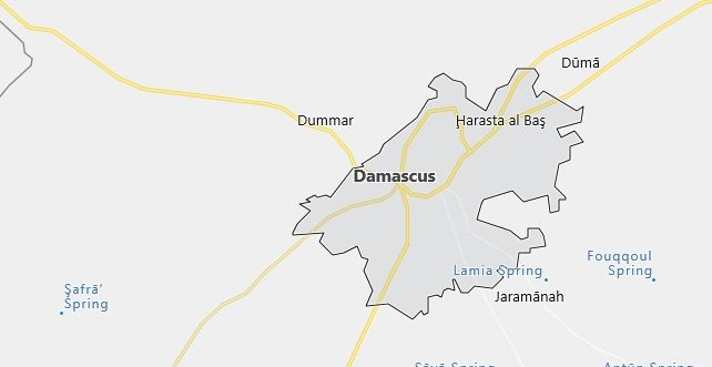 Map of Syria Damascus in English