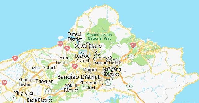 Map of Taiwan Taipei in English