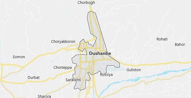 Map of Tajikistan Dushanbe in English