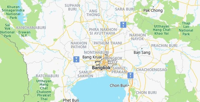 Map of Thailand Bangkok in English