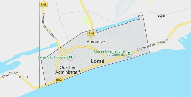 Map of Togo Lome in English