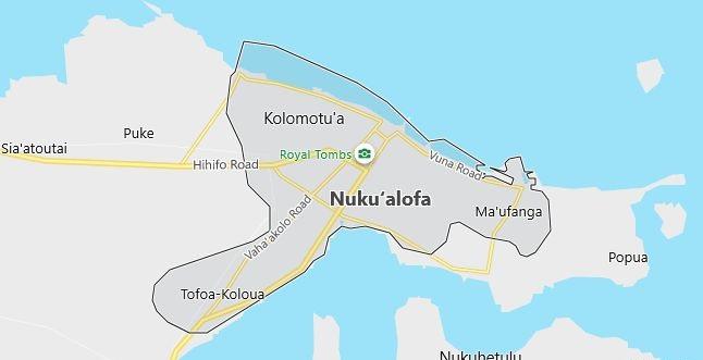 Map of Tonga Nuku'alofa in English