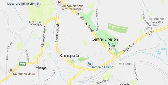 Map of Uganda Kampala in English