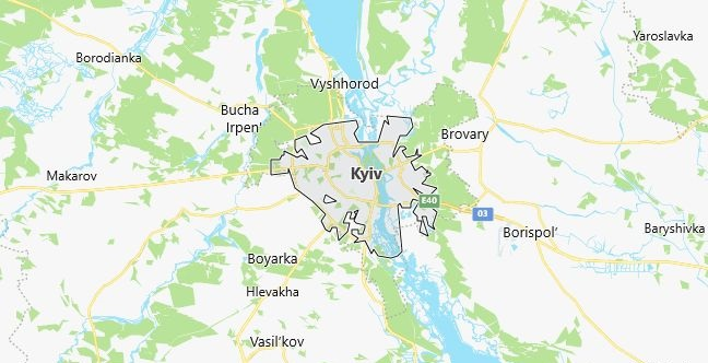 Map of Ukraine Kiev in English