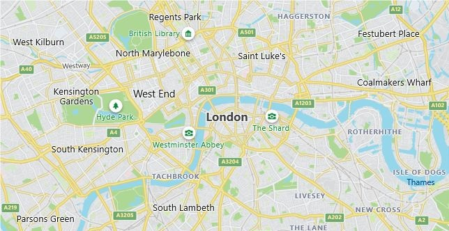 Map of United Kingdom London in English