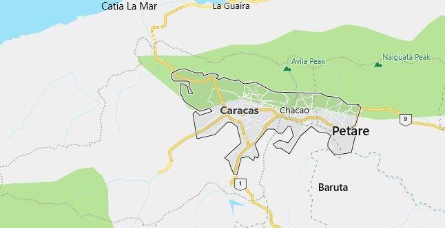 Map of Venezuela Caracas in English