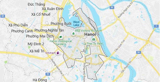 Map of Vietnam Hanoi in English