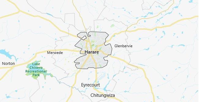 Map of Zimbabwe Harare in English